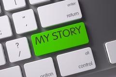 Tastiera con la chiave verde - la mia storia 3d Fotografia Stock Libera da Diritti
