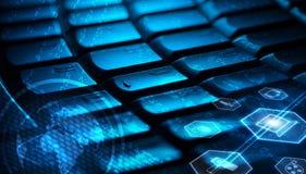 Tastiera con le icone d'ardore di multimedia Fotografie Stock