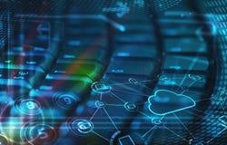 Tastiera con le icone di tecnologia della nube ardente Immagini Stock Libere da Diritti