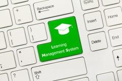 Tastiera concettuale bianca - imparare verde KE del sistema di gestione immagini stock