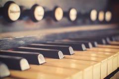 Tastiera d'annata del clavicembalo Fotografia Stock Libera da Diritti