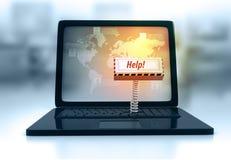 Tastiera del computer portatile con aiuto chiave Fotografia Stock Libera da Diritti
