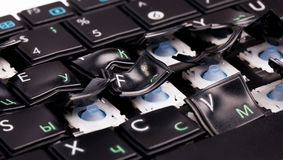 Tastiera del computer portatile con i tasti storti Immagine Stock Libera da Diritti