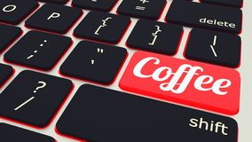 tastiera del computer portatile con il bottone rosso della pausa caffè, concetto del lavoro illustrazione 3D royalty illustrazione gratis