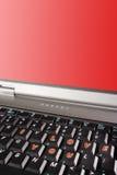 Tastiera del computer portatile con le parole ti amo e il copyspace rosso dello schermo Fotografia Stock