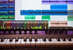 Tastiera del Midi con daw 1 Fotografia Stock