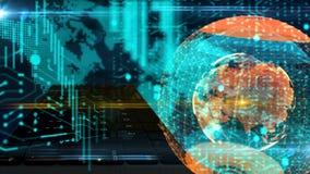 Tastiera del mondo di Digital e globo, collegamenti comtemporary del chip, rete del neurone illustrazione vettoriale