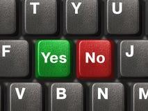 Tastiera del PC con lo sì e nessun tasti Fotografia Stock