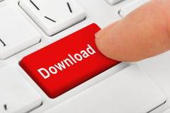 Tastiera del taccuino del computer con la chiave di download Fotografia Stock