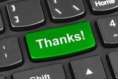 Tastiera del taccuino del computer con la chiave di ringraziamenti Immagine Stock