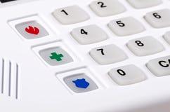 Tastiera dell'allarme di obbligazione domestica con i bottoni di emergenza Immagini Stock Libere da Diritti