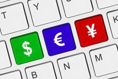 Tastiera di calcolatore con i tasti dei soldi Fotografia Stock Libera da Diritti