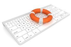 Tastiera di calcolatore con lifebuoy illustrazione di stock