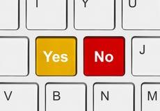 Tastiera di calcolatore con lo sì e nessun tasti Immagine Stock Libera da Diritti