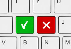 Tastiera di calcolatore con lo sì e nessun tasti Fotografia Stock