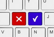 Tastiera di calcolatore con lo sì e nessun tasti Immagini Stock Libere da Diritti