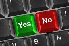 Tastiera di calcolatore con lo sì e nessun tasti Fotografia Stock Libera da Diritti