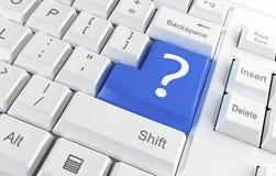 Tastiera di calcolatore con un punto interrogativo Immagini Stock