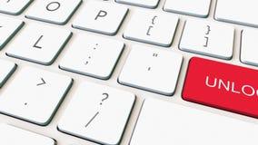Tastiera di computer bianca e tasto di sblocco rosso archivi video