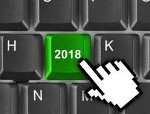 Tastiera di computer con la chiave 2018 Immagini Stock