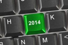 Tastiera di computer con la chiave 2014 Immagini Stock