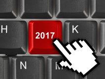 Tastiera di computer con la chiave 2017 Immagini Stock
