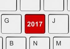 Tastiera di computer con la chiave 2017 Fotografia Stock Libera da Diritti