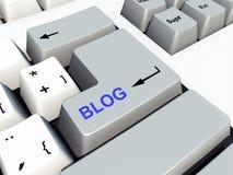 Tastiera di computer con la chiave del blog Fotografia Stock