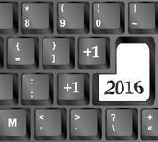 Tastiera di computer con la chiave del buon anno 2016 Fotografia Stock Libera da Diritti