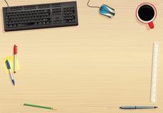 Tastiera di computer e ripiano del tavolo illustrazione di stock