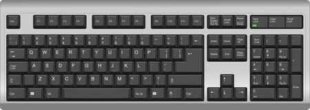 Tastiera di computer inglese di qwerty degli Stati Uniti Il nero d'argento Illustrazione di Stock