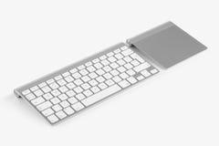 Tastiera di computer senza fili e trackpad isolati su backgr bianco Immagini Stock Libere da Diritti