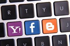 Tastiera di Facebook Yahoo e di blogger Fotografia Stock Libera da Diritti