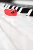 Tastiera di piano con l'ornamento rosso della coccinella - vista laterale Fotografia Stock