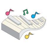 Tastiera di piano con le note Fotografia Stock Libera da Diritti