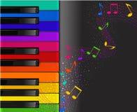 Tastiera di piano variopinta con le note musicali Fotografia Stock Libera da Diritti