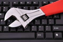 Tastiera e chiave Fotografia Stock Libera da Diritti