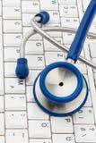 Tastiera e stetoscopio Fotografia Stock
