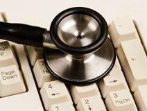 Tastiera e stetoscopio Immagine Stock Libera da Diritti
