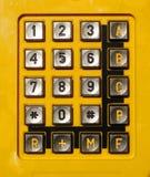 Tastiera gialla del telefono Fotografia Stock Libera da Diritti