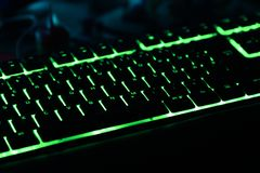 Tastiera illuminata per il PC di gioco fotografia stock libera da diritti