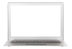 Tastiera popolare moderna del computer portatile con lo schermo bianco Immagini Stock Libere da Diritti