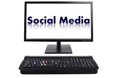 Tastiera sociale di media Fotografie Stock Libere da Diritti