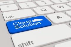 Tastiera - soluzione della nuvola - blu Fotografia Stock Libera da Diritti