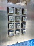 Tastiera, telefono di paga, telefono a gettone, telefono pubblico, NYC, NY, U.S.A. immagine stock