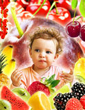 Tasting. Baby with fruits, tasting a piece of an apple Stock Images