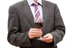 Tasting alcohol - man with glass of wine Royalty Free Stock Image