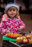 Tasting apple juice Royalty Free Stock Image