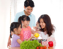 Tasting. Asian women tasting soup prepared by her daughter royalty free stock photography