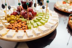 Tasting cheese dish . Delicious cheese on the table. Table setting at a luxury wedding reception. stock images